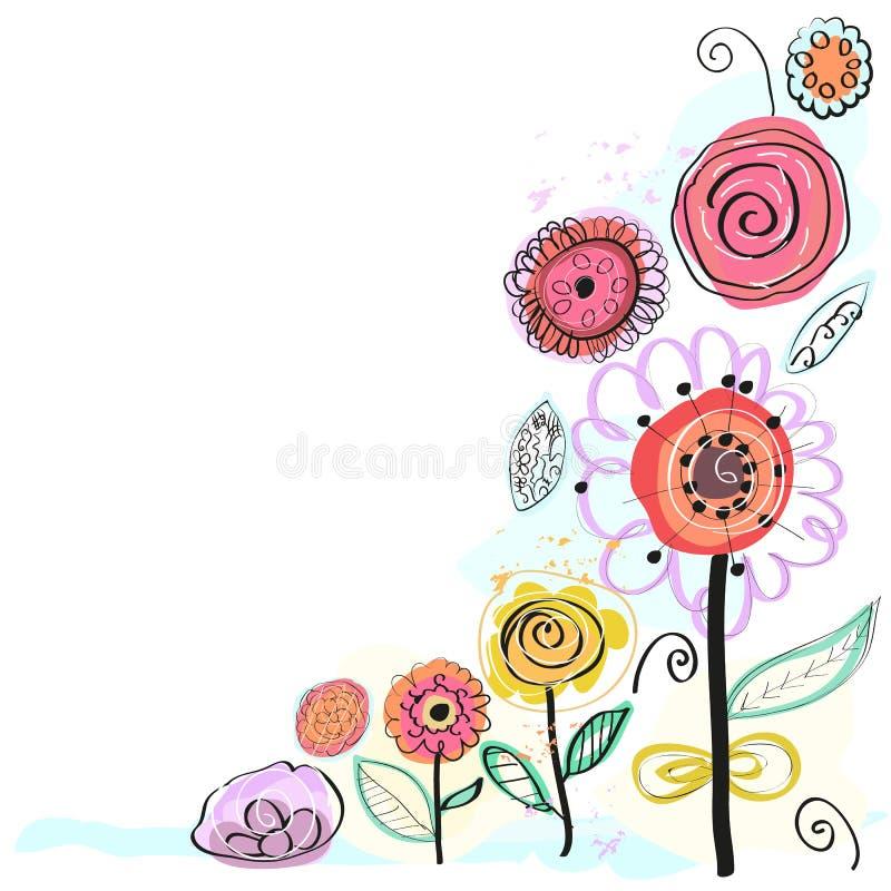 Χρωματισμένα κρητιδογραφία λουλούδια άνοιξη διακοσμητικός floral χαιρετι Το χέρι που σύρεται απεικόνιση ανθίζει τη διανυσματική διανυσματική απεικόνιση