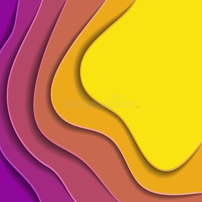 Χρωματισμένα κύματα εγγράφου, τρισδιάστατη σύσταση υποβάθρου των στρωμάτων του βάθους διανυσματική απεικόνιση