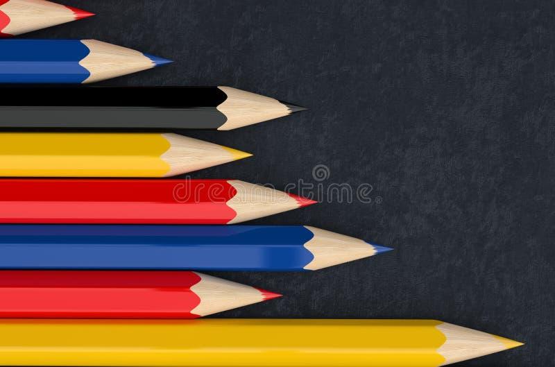 Χρωματισμένα μολύβια στο επιτραπέζιο ύφασμα διανυσματική απεικόνιση