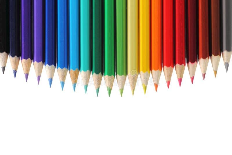 Χρωματισμένα μολύβια με το διάστημα αντιγράφων στοκ εικόνα