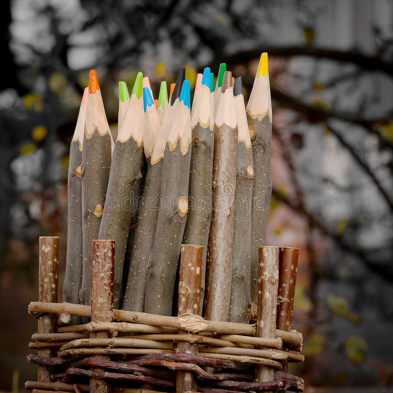 Χρωματισμένα μολύβια που γίνονται †‹â€ ‹του ξύλου στοκ εικόνα με δικαίωμα ελεύθερης χρήσης