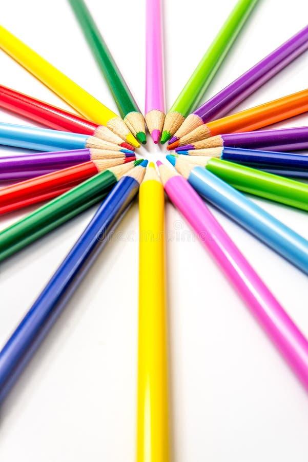Χρωματισμένα μολύβια Starburst/ηλιοφάνεια στοκ εικόνες με δικαίωμα ελεύθερης χρήσης