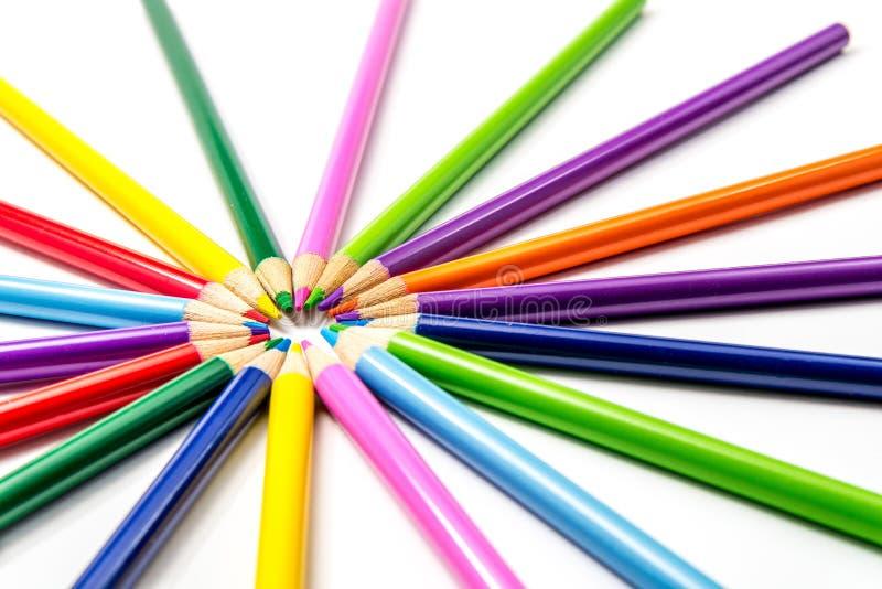 Χρωματισμένα μολύβια Starburst/ηλιοφάνεια στοκ φωτογραφία με δικαίωμα ελεύθερης χρήσης