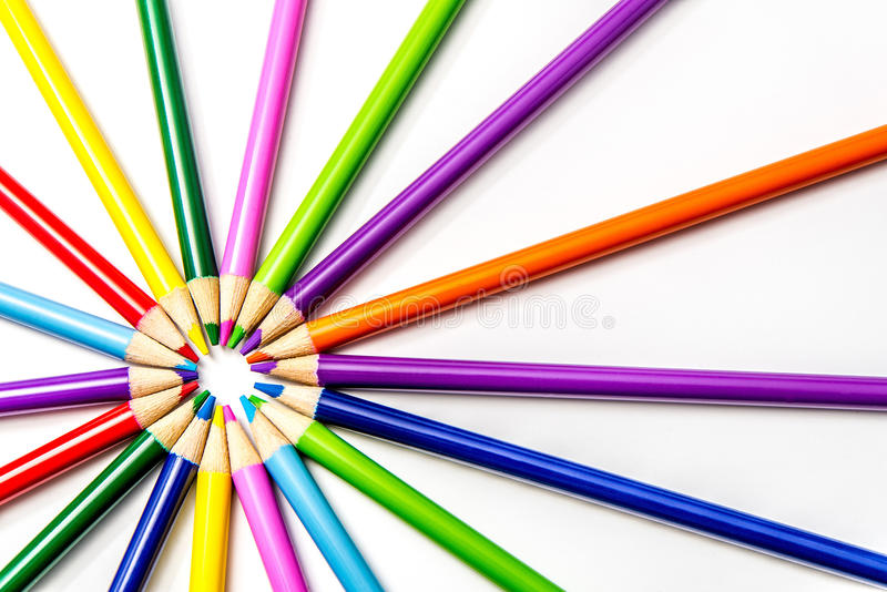 Χρωματισμένα μολύβια Starburst/ηλιοφάνεια στοκ εικόνες