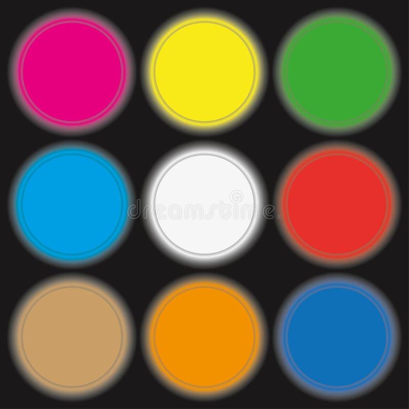 Χρωματισμένα νέο κουμπιά κύκλων επίσης corel σύρετε το διάνυσμα απεικόνισης διανυσματική απεικόνιση