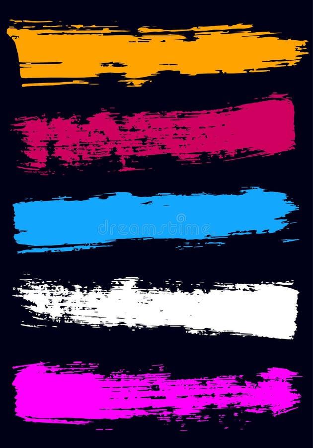 Χρωματισμένα ξηρά κτυπήματα βουρτσών με μια ευρεία βούρτσα διανυσματική απεικόνιση