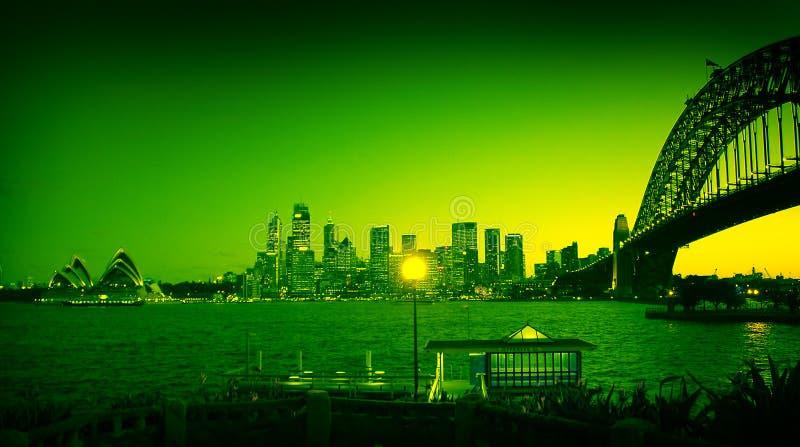 χρωματισμένα ορόσημα Σύδνεϋ στοκ φωτογραφίες