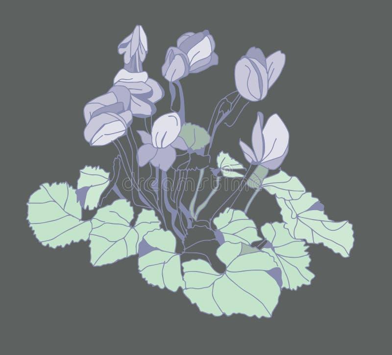 Χρωματισμένα λουλούδια άνοιξη διανυσματική απεικόνιση