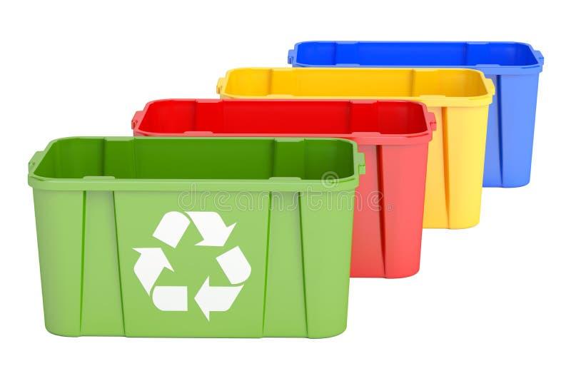 Χρωματισμένα δοχεία ανακύκλωσης, τρισδιάστατη απόδοση διανυσματική απεικόνιση