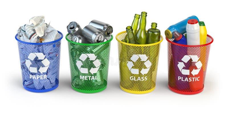 Χρωματισμένα δοχεία απορριμμάτων για το ανακύκλωσης έγγραφο, το πλαστικό, το γυαλί και το μέταλλο ι διανυσματική απεικόνιση