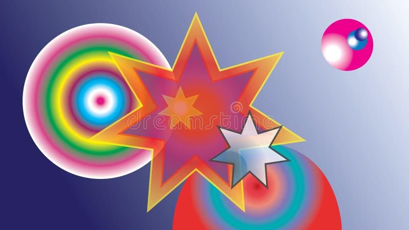 Χρωματισμένα περίληψη αστέρια και χρωματισμένες σφαίρες ελεύθερη απεικόνιση δικαιώματος