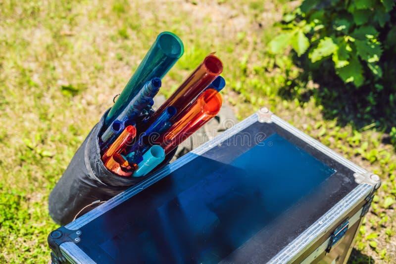 Χρωματισμένα πηκτώματα για τις πηγές φωτός στο σύνολο παραγωγής κινηματογράφων στοκ φωτογραφίες με δικαίωμα ελεύθερης χρήσης