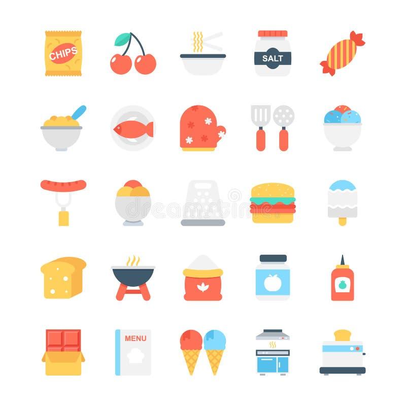 Χρωματισμένα τρόφιμα διανυσματικά εικονίδια 2 ελεύθερη απεικόνιση δικαιώματος