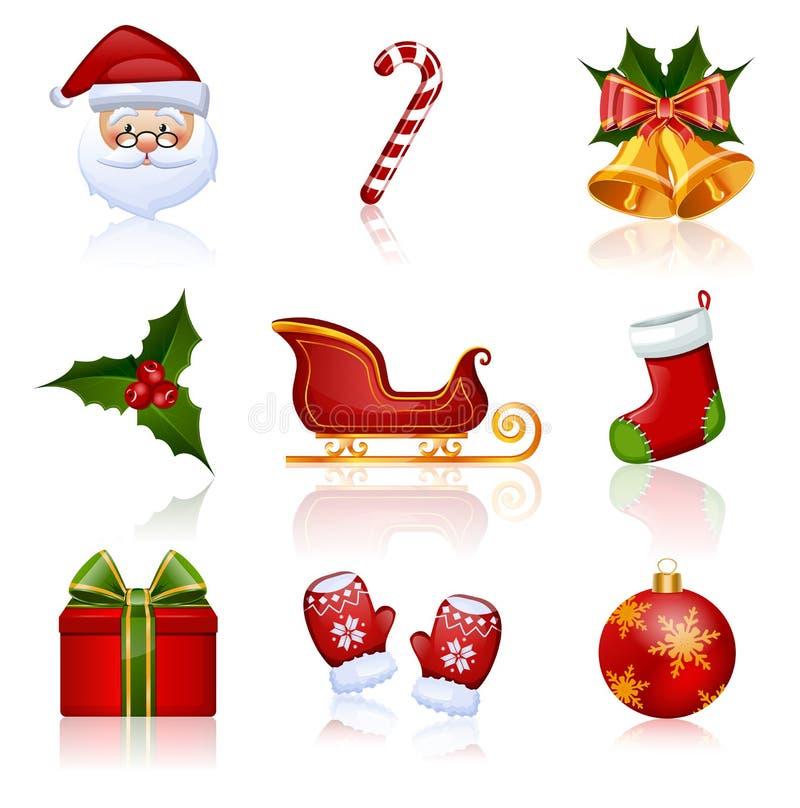 Χρωματισμένα Χριστούγεννα και νέα εικονίδια έτους. Διανυσματική απεικόνιση.