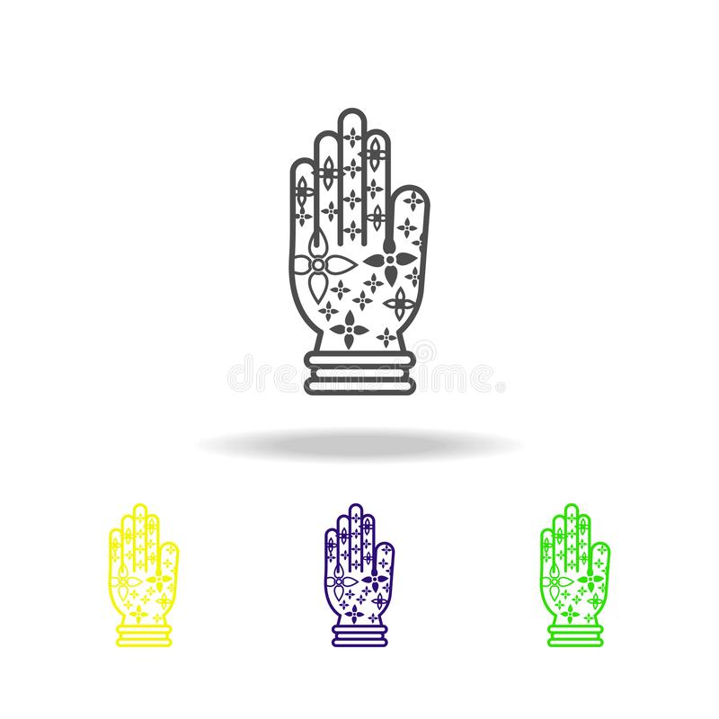 Χρωματισμένα henna εικονίδια Diwali διακοσμήσεων χεριών στο άσπρο υπόβαθρο Diwali ινδά στοιχεία διακοπών φεστιβάλ ινδικά για γραφ ελεύθερη απεικόνιση δικαιώματος