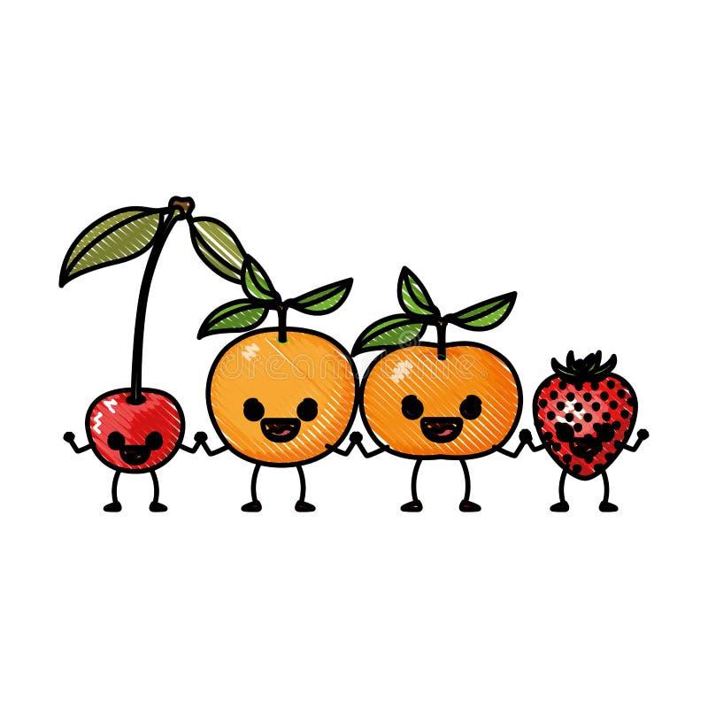 Χρωματισμένα tangerine και πορτοκάλι φραουλών κερασιών φρούτων σκιαγραφιών κραγιονιών καθορισμένα στην καρικατούρα διανυσματική απεικόνιση