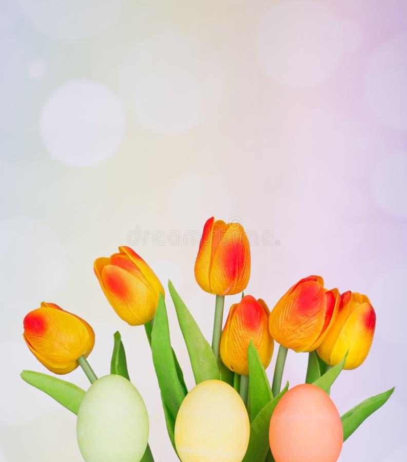 Χρωματισμένες αυγά Πάσχας και τουλίπες στοκ εικόνες με δικαίωμα ελεύθερης χρήσης