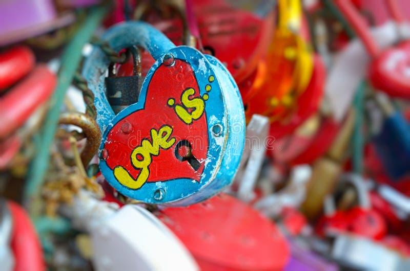 Χρωματισμένες γαμήλιες κλειδαριές στοκ φωτογραφίες με δικαίωμα ελεύθερης χρήσης