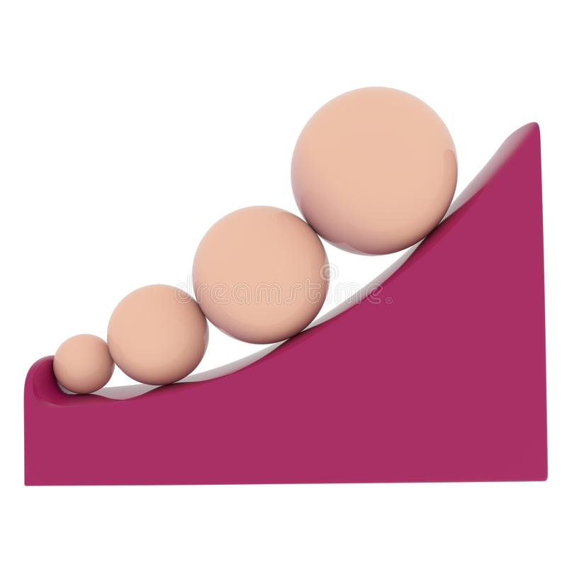 Χρωματισμένες ελεφαντόδοντο σφαίρες σε μια κλίση απεικόνιση αποθεμάτων