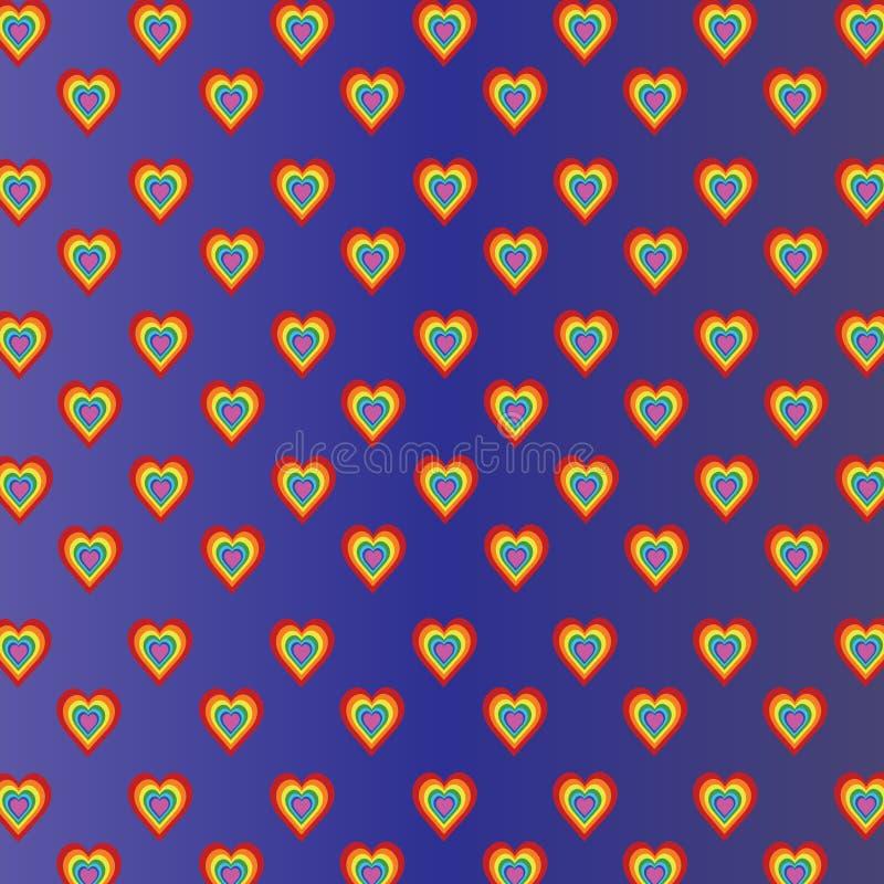 Χρωματισμένες καρδιές στο ιώδες μπλε υπόβαθρο κλίσης ελεύθερη απεικόνιση δικαιώματος