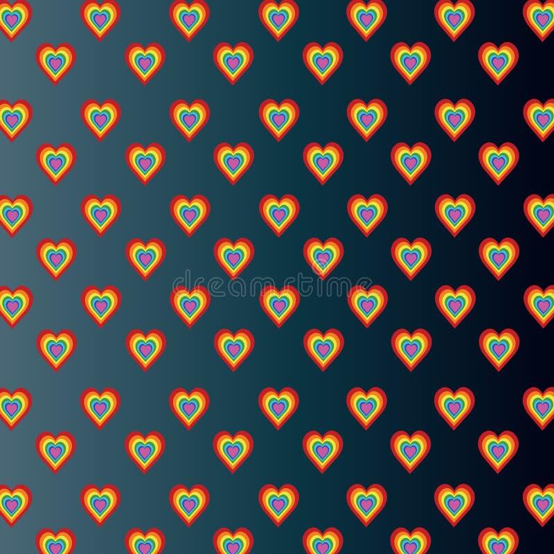 Χρωματισμένες καρδιές στο σκούρο γκρι υπόβαθρο κλίσης απεικόνιση αποθεμάτων