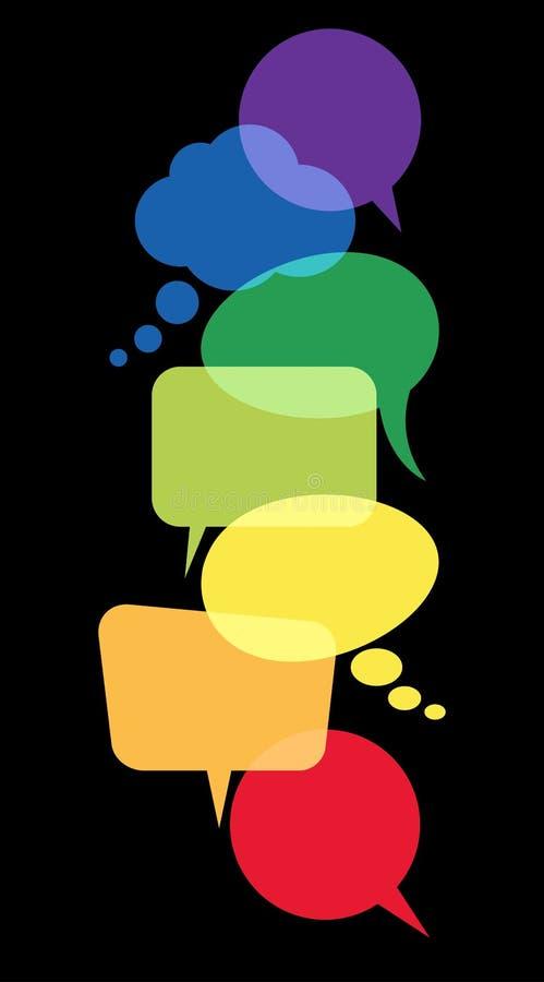 χρωματισμένες λεκτικές φυσαλίδες σε μια σειρά διανυσματική απεικόνιση
