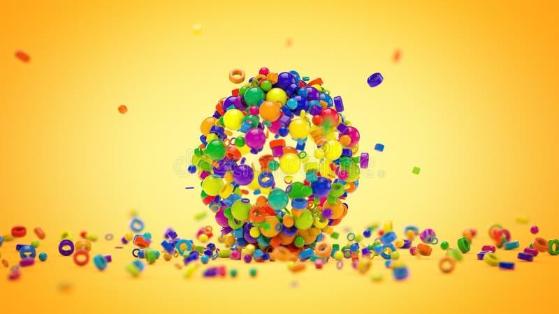 Χρωματισμένες πέτρες που τακτοποιούνται στη μορφή σφαιρών, τρισδιάστατη απόδοση διανυσματική απεικόνιση