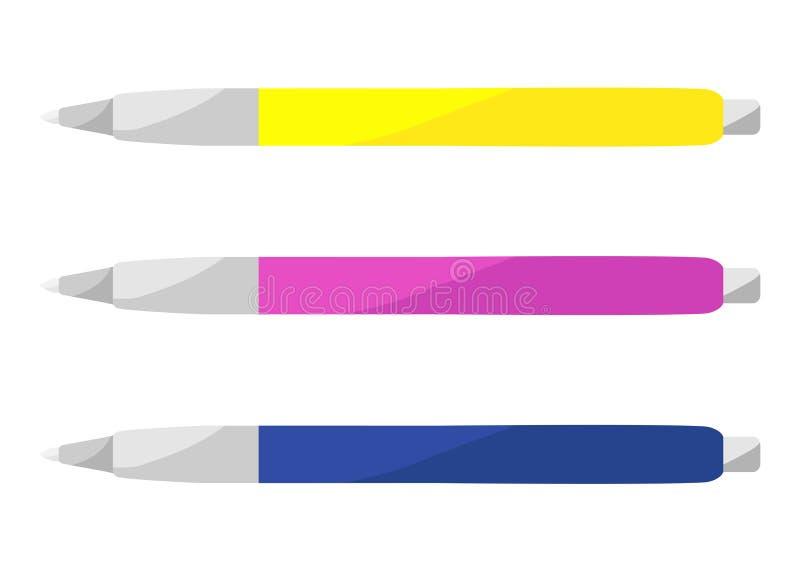 Χρωματισμένες πλαστικές μάνδρες επίσης corel σύρετε το διάνυσμα απεικόνισης απεικόνιση αποθεμάτων