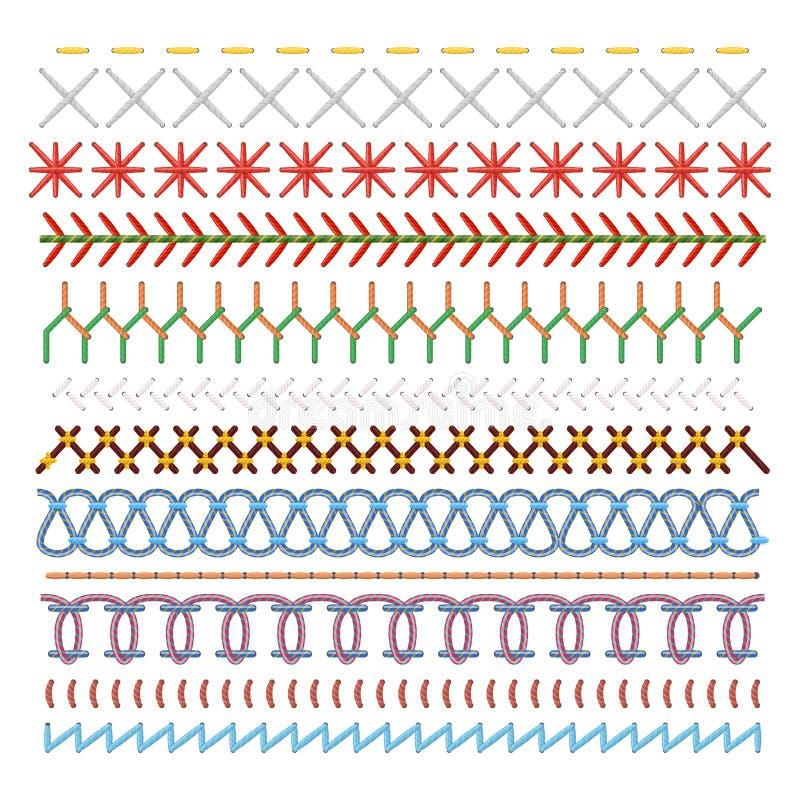 Χρωματισμένες ράβοντας βελονιές καθορισμένες, σχέδιο στις γραμμές ελεύθερη απεικόνιση δικαιώματος