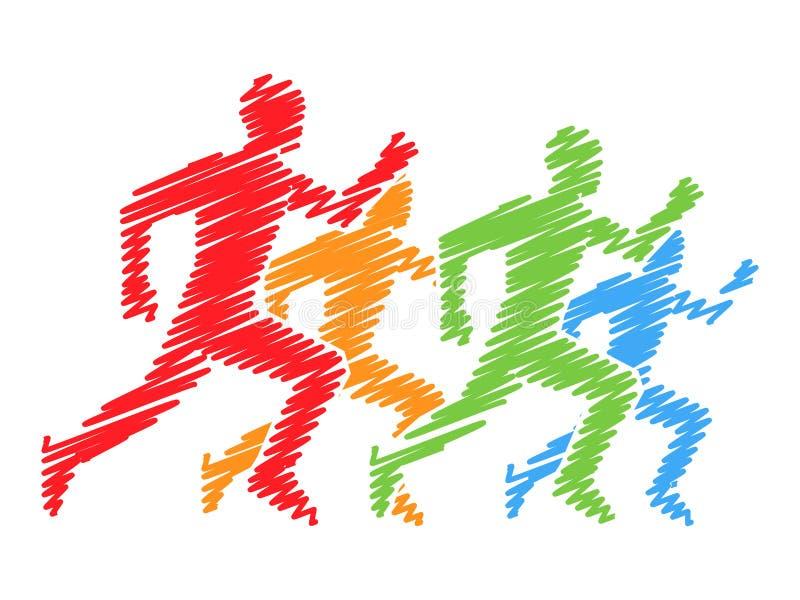 Χρωματισμένες σκιαγραφίες των δρομέων Διανυσματικό λογότυπο τρεξίματος και μαραθωνίου διανυσματική απεικόνιση