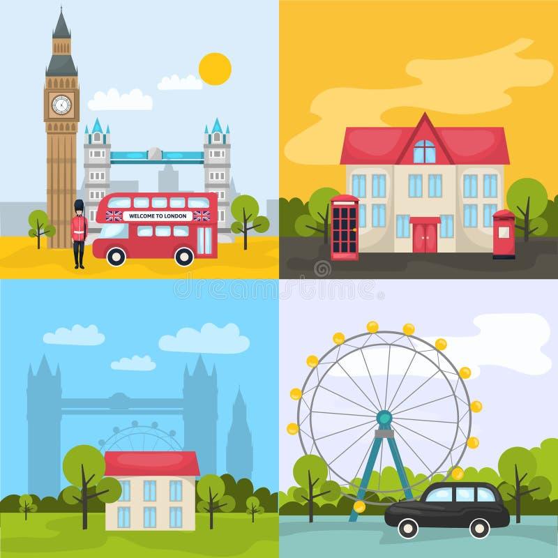 Χρωματισμένες το Λονδίνο συνθέσεις απεικόνιση αποθεμάτων