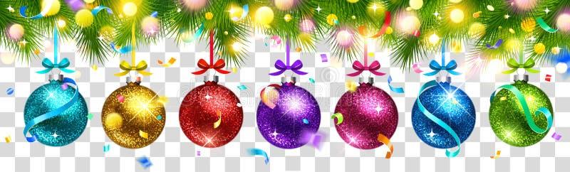 Χρωματισμένες Χριστούγεννα σφαίρες και ελαφριά επίδραση που απομονώνονται διάνυσμα διανυσματική απεικόνιση