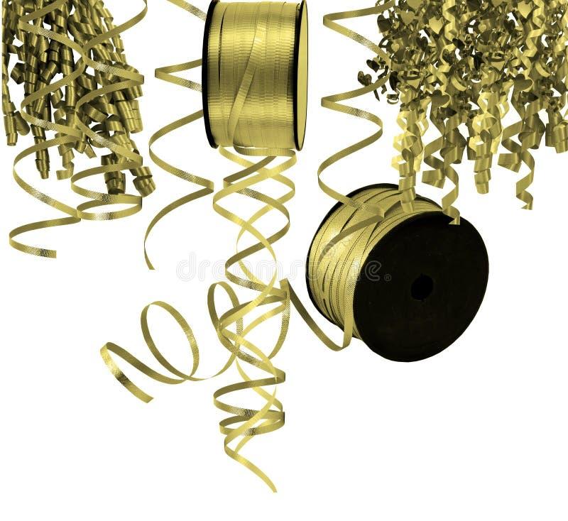 Χρωματισμένες χρυσός κορδέλλες και ταινίες στοκ φωτογραφία