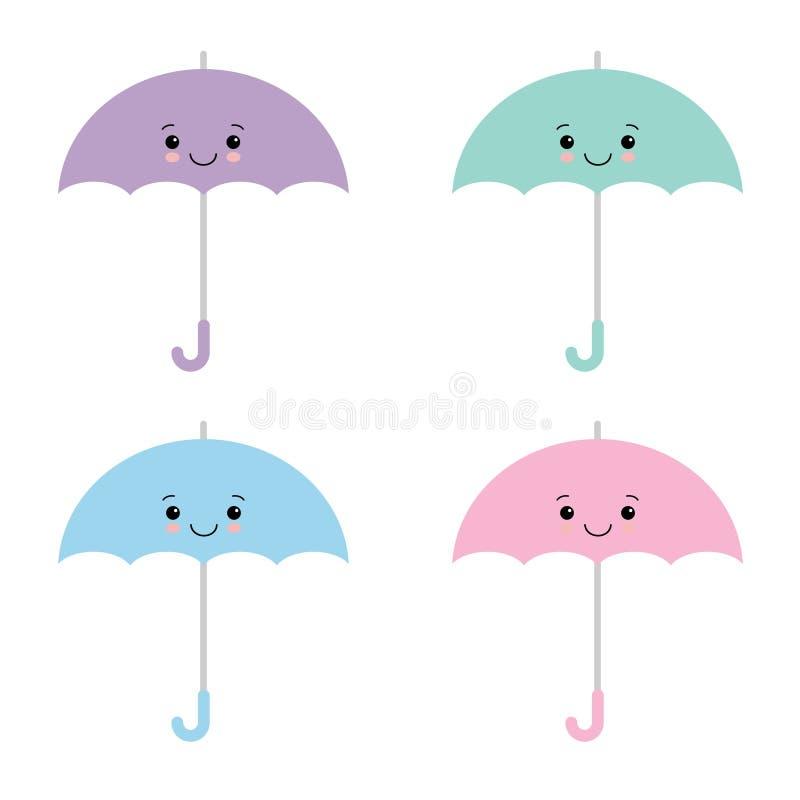 Χρωματισμένες Kawaii ομπρέλες Διανυσματική απεικόνιση, επίπεδο ύφος κινούμενων σχεδίων Χαριτωμένο parasol ελεύθερη απεικόνιση δικαιώματος