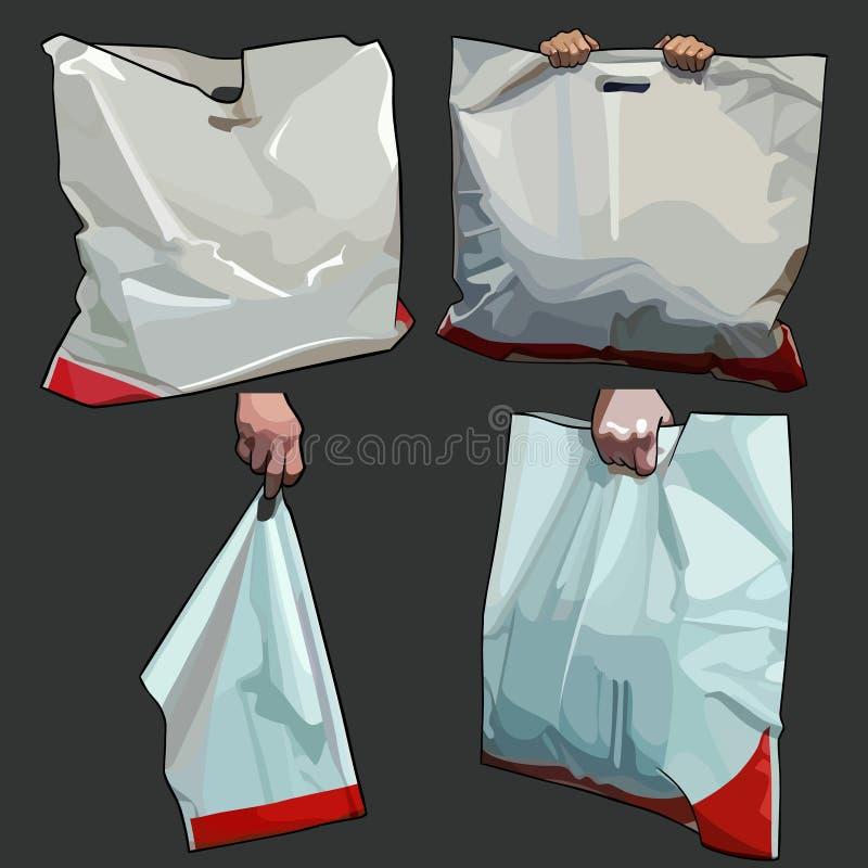 Χρωματισμένη άσπρη τσάντα τσαντών στις διαφορετικές εκδόσεις ελεύθερη απεικόνιση δικαιώματος
