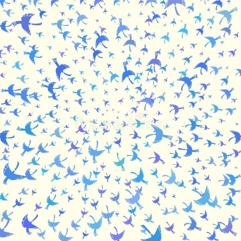 Χρωματισμένη απεικόνιση με τα διακοσμητικά πουλιά που πετούν στο κέντρο ελεύθερη απεικόνιση δικαιώματος