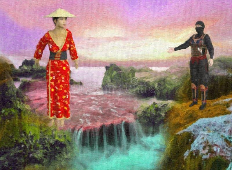 Χρωματισμένη απεικόνιση της ζωηρόχρωμης ασιατικής σκηνής καταρρακτών την ηλιόλουστη ημέρα απεικόνιση αποθεμάτων
