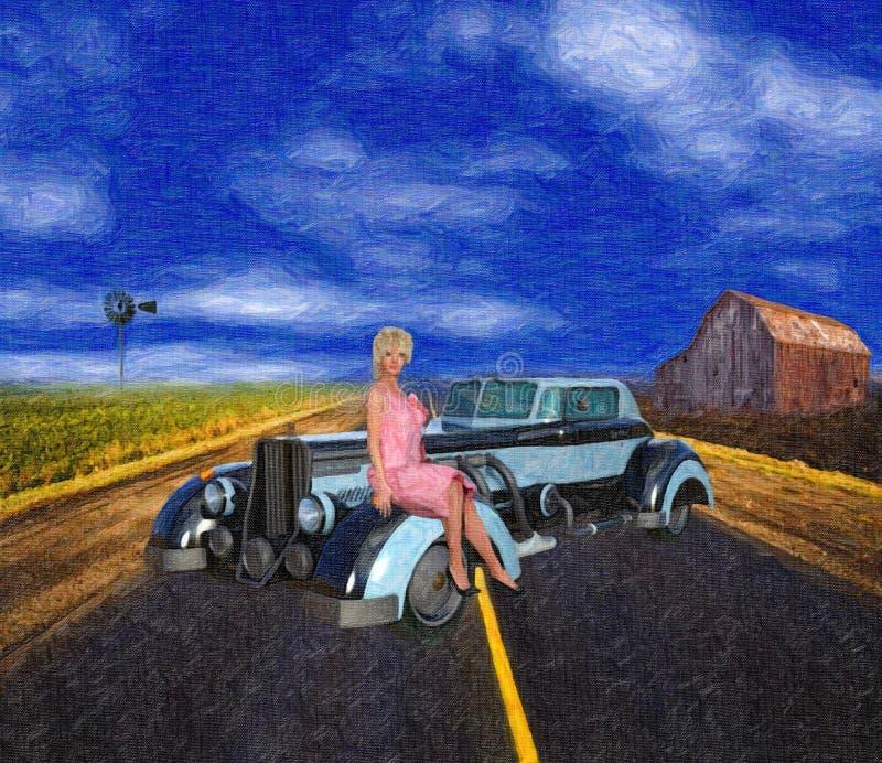 Χρωματισμένη απεικόνιση ύφους της αναδρομικής αμερικανικής σκηνής της δεκαετίας του '30 διανυσματική απεικόνιση