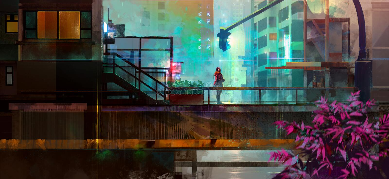 Χρωματισμένη αστική μελλοντική πόλη με ένα άτομο διανυσματική απεικόνιση