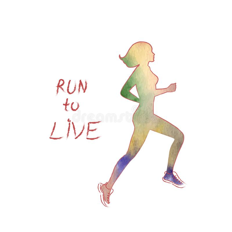 Χρωματισμένη αφίσα με μια σκιαγραφία ενός τρέχοντας κοριτσιού και μιας κινητήριας εγγραφής Τρέξιμο για να ζήσει απεικόνιση αποθεμάτων