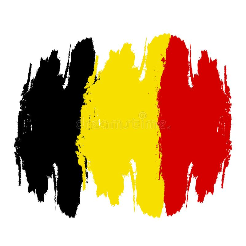 Σημαία του Βελγίου Χρωματισμένη βούρτσα σημαία του Βελγίου r Σημαία του Βελγίου με διανυσματική απεικόνιση