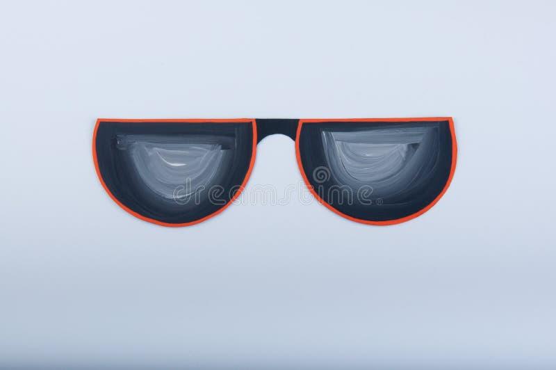 Χρωματισμένη γκουας απεικόνιση Αστεία γυαλιά ηλίου εγγράφου στο άσπρο υπόβαθρο στοκ εικόνες