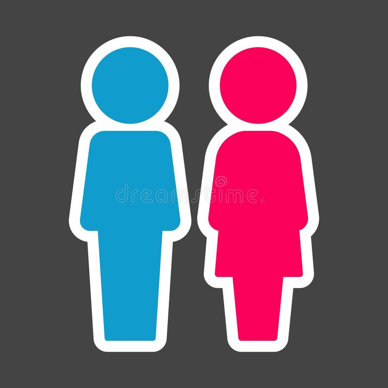 Χρωματισμένη διάνυσμα αυτοκόλλητη ετικέττα της τουαλέτας Άνδρας και γυναίκες Εικονίδιο πιάτων στο τ απεικόνιση αποθεμάτων