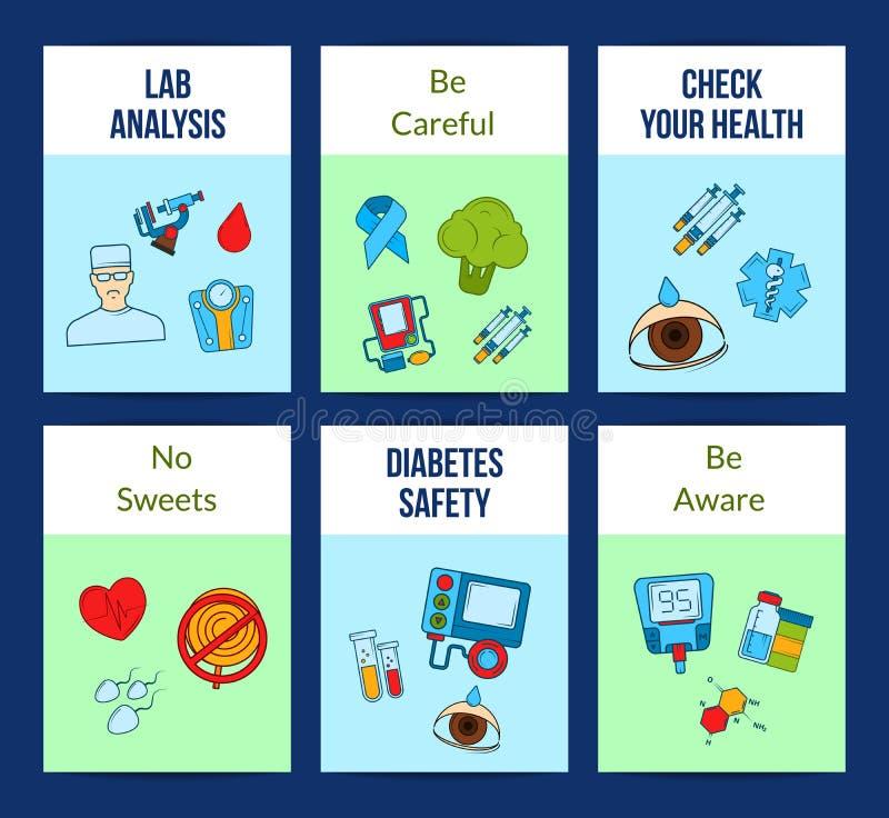 Χρωματισμένη διάνυσμα κάρτα εικονιδίων διαβήτη ή απεικόνιση προτύπων ιπτάμενων διανυσματική απεικόνιση