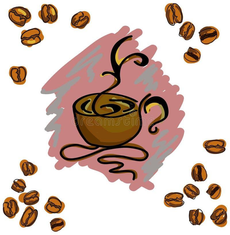 Χρωματισμένη εικόνα με το φλυτζάνι καφέ επίσης corel σύρετε το διάνυσμα απεικόνισης απεικόνιση αποθεμάτων
