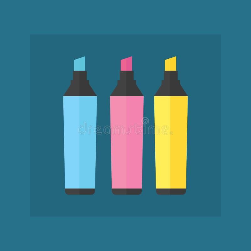 Χρωματισμένη εφαρμοσμένης μηχανικής γραφείων δεικτών διανυσματική απεικόνισης απλή εξοπλισμού κρητιδογραφία εργαλείων σχολικών πρ απεικόνιση αποθεμάτων