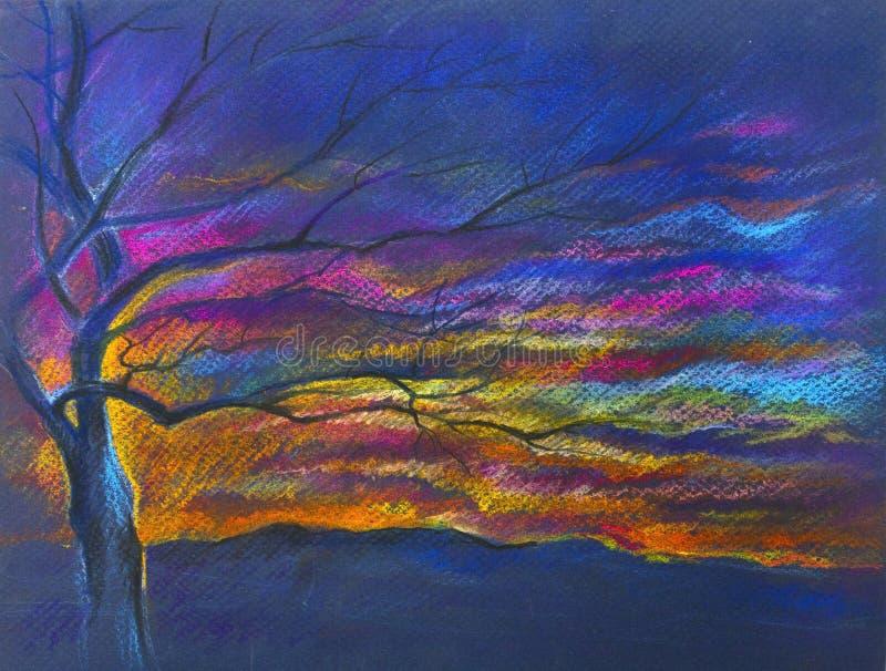Χρωματισμένη ξύλο κρητιδογραφία διανυσματική απεικόνιση