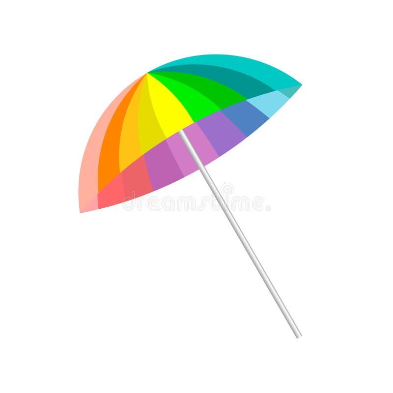 Χρωματισμένη ουράνιο τόξο ομπρέλα παραλιών, που απομονώνεται στο άσπρο υπόβαθρο Καλοκαίρι ελεύθερη απεικόνιση δικαιώματος