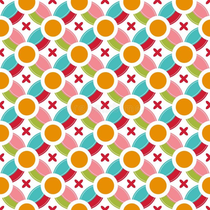 Χρωματισμένη περίληψη γεωμετρίας σχεδίων κύκλων άνευ ραφής γύρω από την άνευ ραφής διανυσματική απεικόνιση υποβάθρου γεωμετρικού  ελεύθερη απεικόνιση δικαιώματος