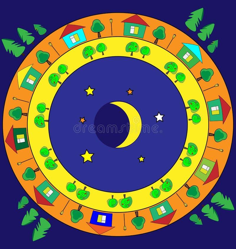 Χρωματισμένη περίληψη εικόνα του νυχτερινού κόσμου στο δαχτυλίδι απεικόνιση αποθεμάτων